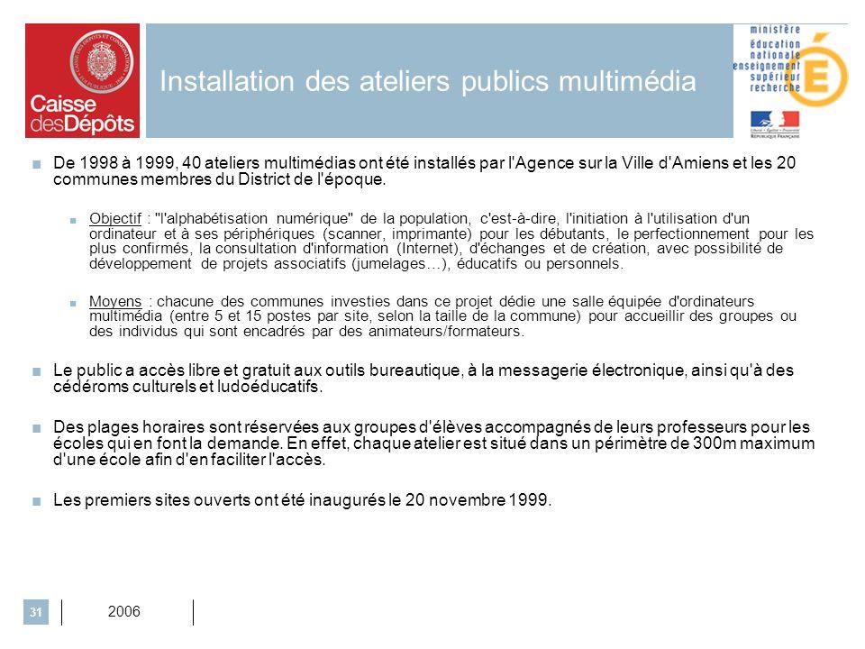 2006 31 Installation des ateliers publics multimédia De 1998 à 1999, 40 ateliers multimédias ont été installés par l'Agence sur la Ville d'Amiens et l