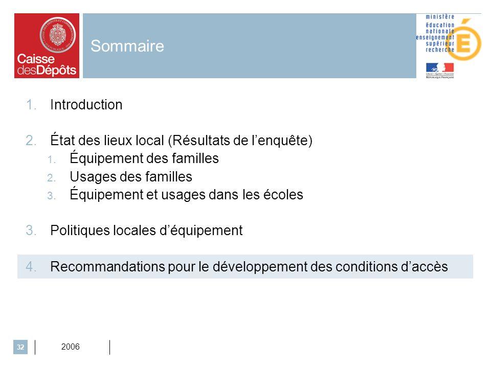 2006 32 Sommaire 1.Introduction 2.État des lieux local (Résultats de lenquête) 1. Équipement des familles 2. Usages des familles 3. Équipement et usag