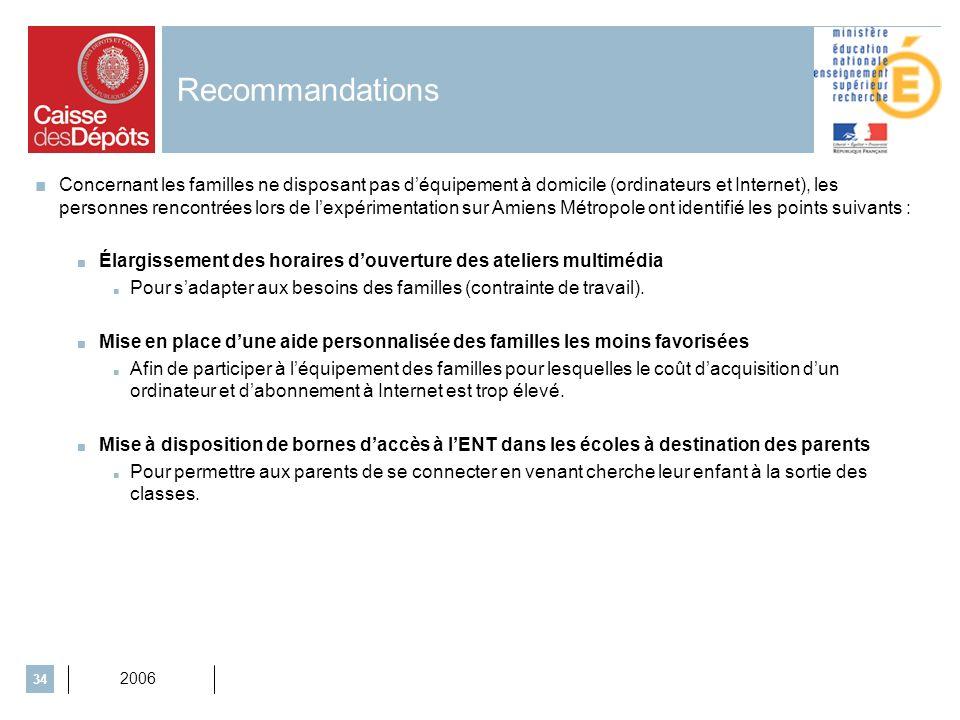 2006 34 Recommandations Concernant les familles ne disposant pas déquipement à domicile (ordinateurs et Internet), les personnes rencontrées lors de l