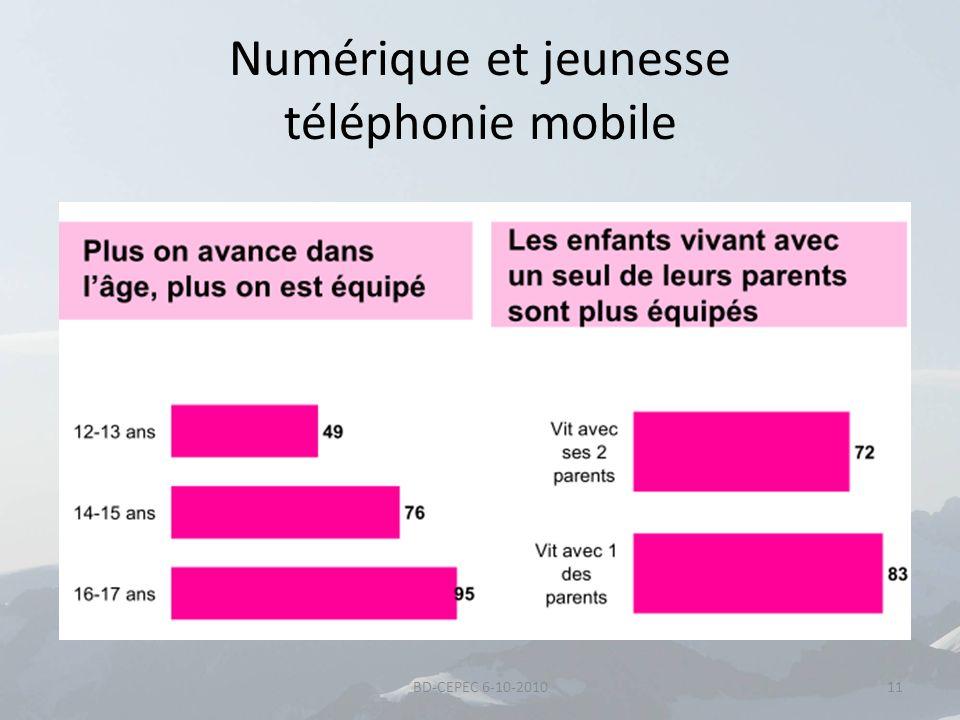 Numérique et jeunesse téléphonie mobile 11BD-CEPEC 6-10-2010