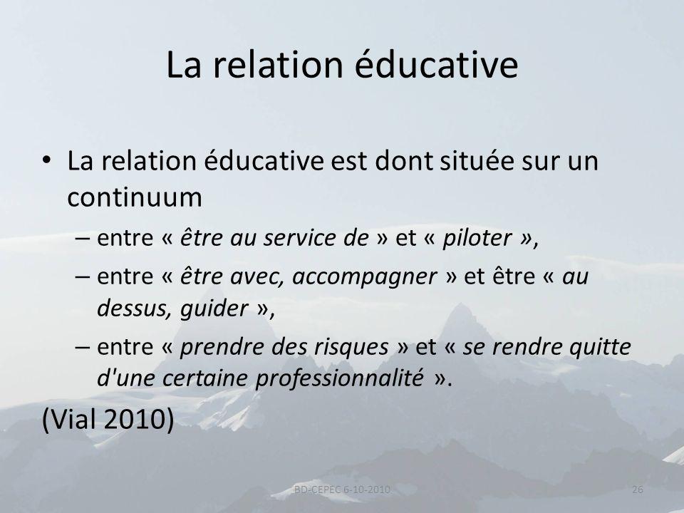 La relation éducative La relation éducative est dont située sur un continuum – entre « être au service de » et « piloter », – entre « être avec, accom