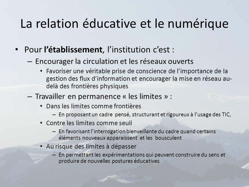 La relation éducative et le numérique Pour létablissement, linstitution cest : – Encourager la circulation et les réseaux ouverts Favoriser une vérita