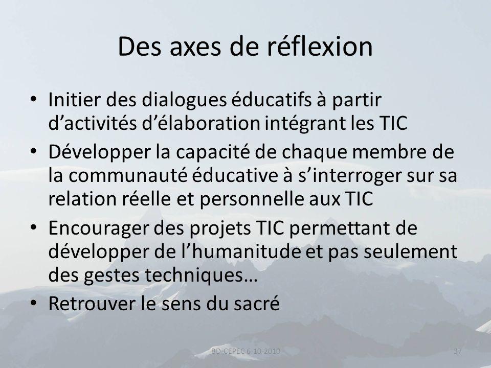 Des axes de réflexion Initier des dialogues éducatifs à partir dactivités délaboration intégrant les TIC Développer la capacité de chaque membre de la