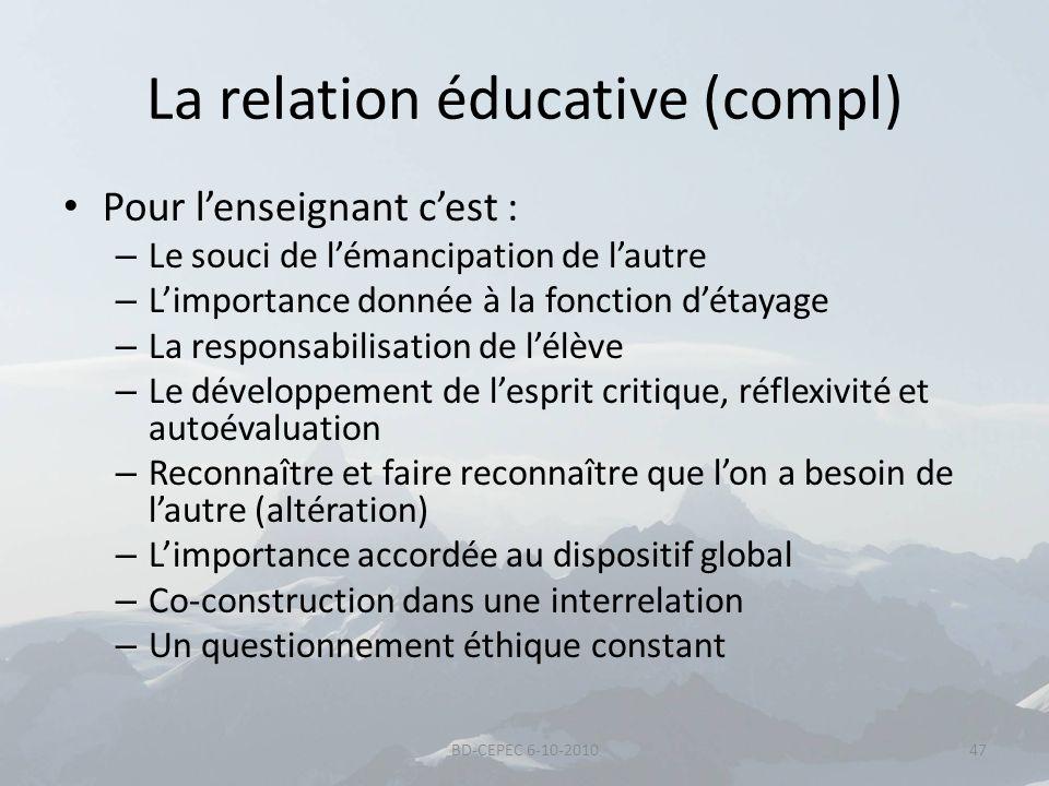La relation éducative (compl) Pour lenseignant cest : – Le souci de lémancipation de lautre – Limportance donnée à la fonction détayage – La responsab