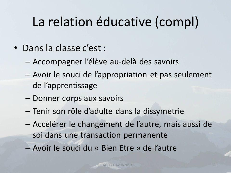 La relation éducative (compl) Dans la classe cest : – Accompagner lélève au-delà des savoirs – Avoir le souci de lappropriation et pas seulement de la