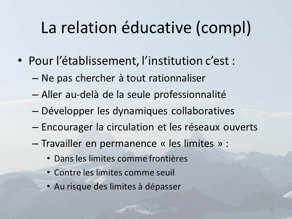 La relation éducative (compl) Pour létablissement, linstitution cest : – Ne pas chercher à tout rationnaliser – Aller au-delà de la seule professionna