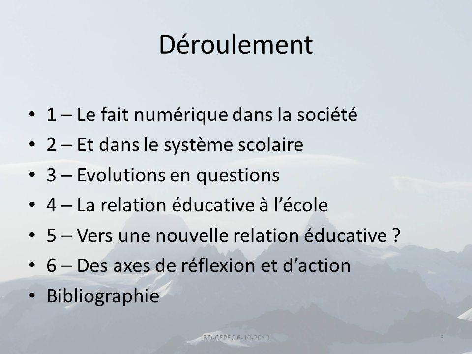 Déroulement 1 – Le fait numérique dans la société 2 – Et dans le système scolaire 3 – Evolutions en questions 4 – La relation éducative à lécole 5 – V