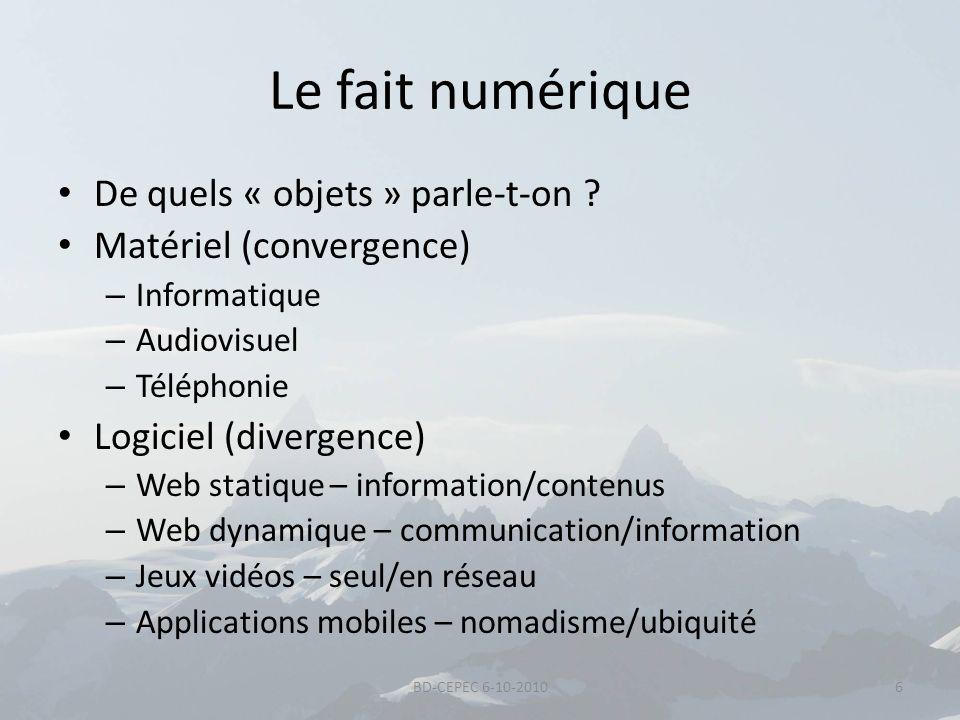 Le fait numérique De quels « objets » parle-t-on ? Matériel (convergence) – Informatique – Audiovisuel – Téléphonie Logiciel (divergence) – Web statiq