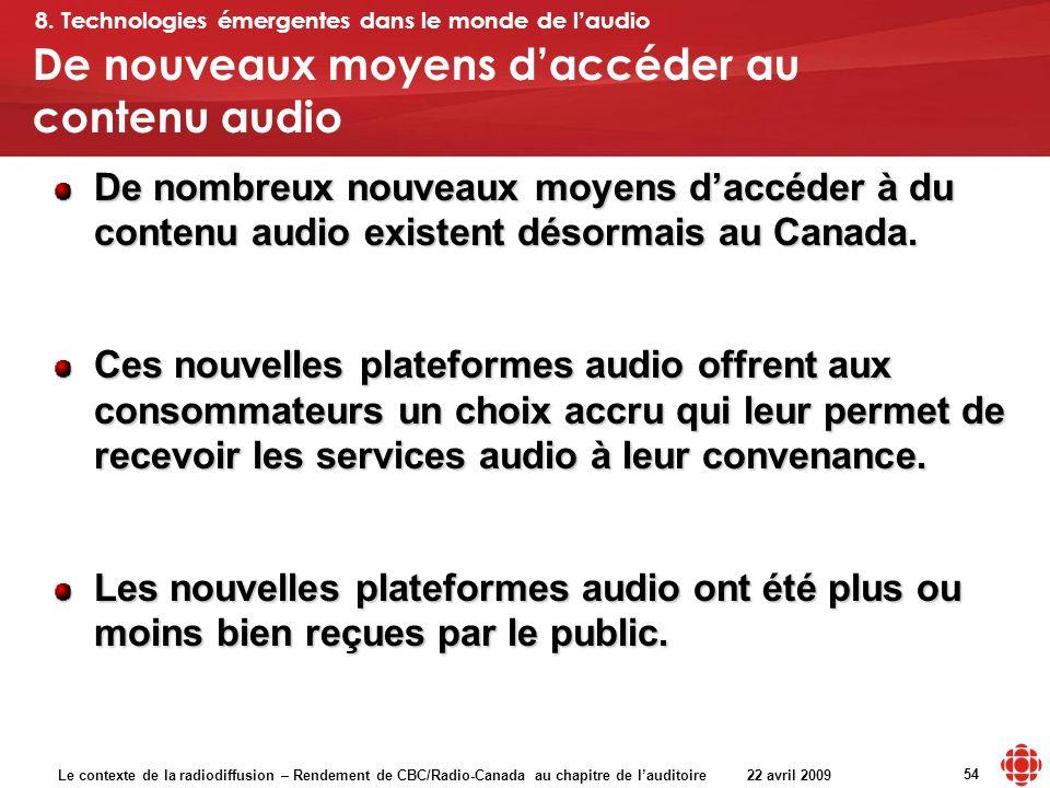 Le contexte de la radiodiffusion – Rendement de CBC/Radio-Canada au chapitre de lauditoire 22 avril 2009 54 De nouveaux moyens daccéder au contenu aud