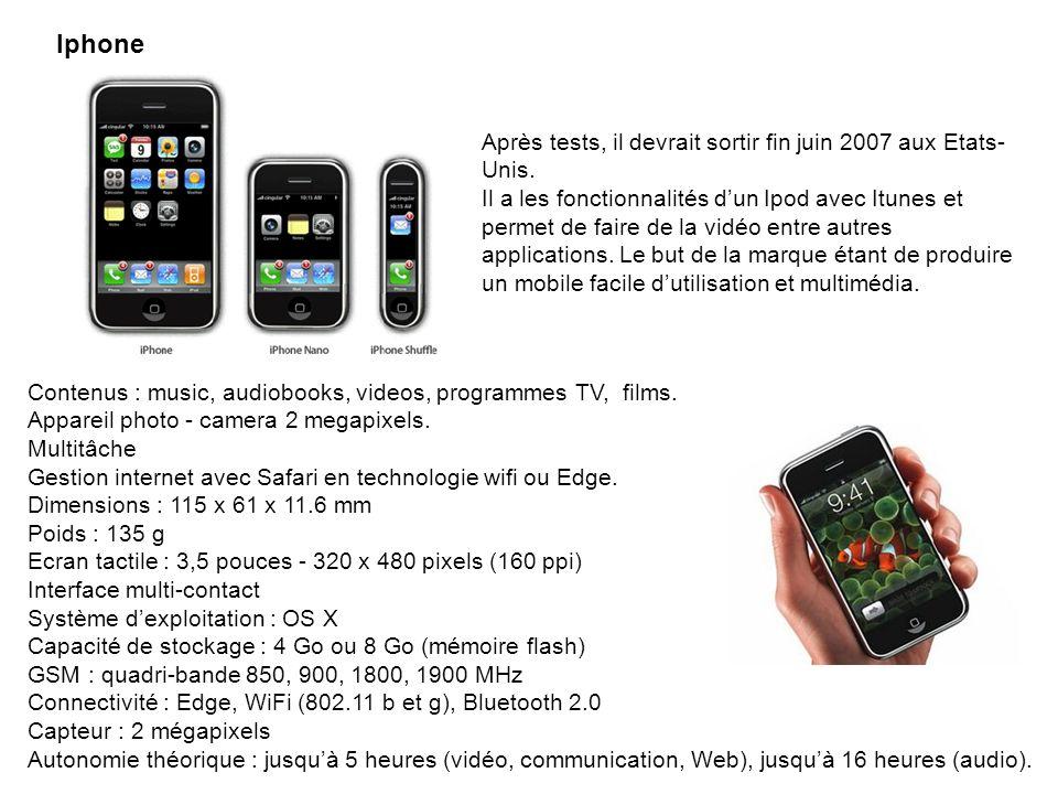 Iphone Après tests, il devrait sortir fin juin 2007 aux Etats- Unis. Il a les fonctionnalités dun Ipod avec Itunes et permet de faire de la vidéo entr