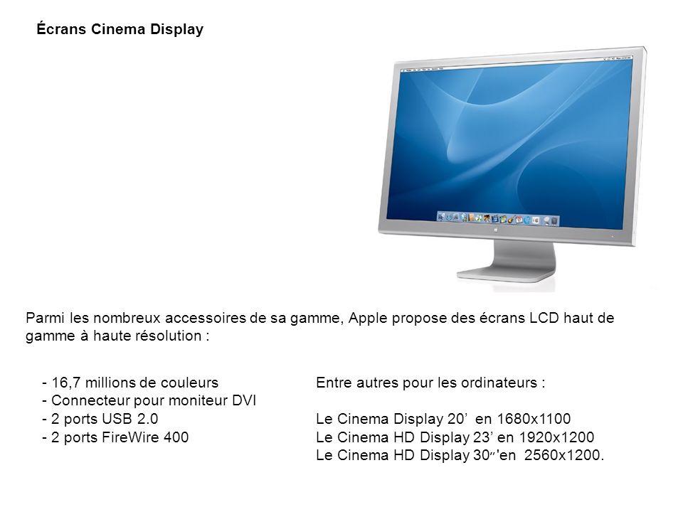 Écrans Cinema Display Parmi les nombreux accessoires de sa gamme, Apple propose des écrans LCD haut de gamme à haute résolution : - 16,7 millions de c