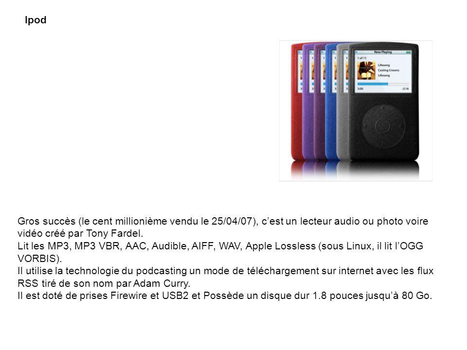Ipod Gros succès (le cent millionième vendu le 25/04/07), cest un lecteur audio ou photo voire vidéo créé par Tony Fardel. Lit les MP3, MP3 VBR, AAC,