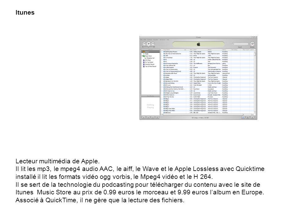 Itunes Lecteur multimédia de Apple. Il lit les mp3, le mpeg4 audio AAC, le aiff, le Wave et le Apple Lossless avec Quicktime installé il lit les forma
