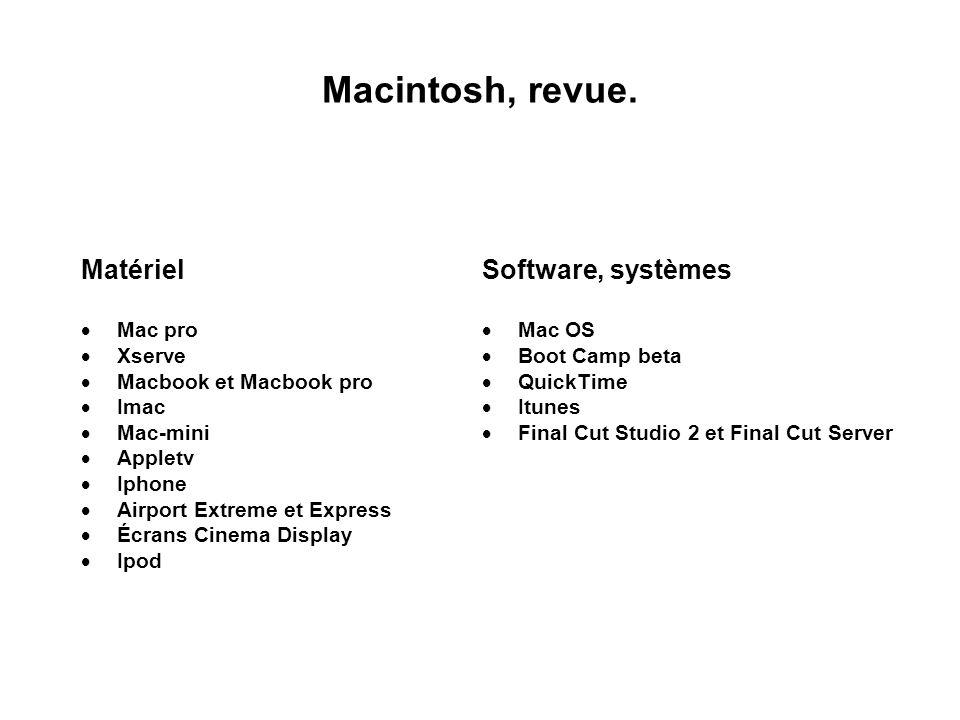 Macintosh, revue. Matériel Mac pro Xserve Macbook et Macbook pro Imac Mac-mini Appletv Iphone Airport Extreme et Express Écrans Cinema Display Ipod So