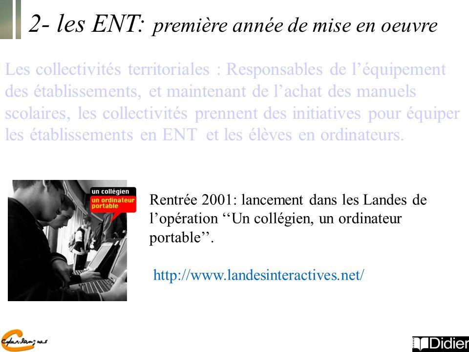 Rentrée 2001: lancement dans les Landes de lopération Un collégien, un ordinateur portable.