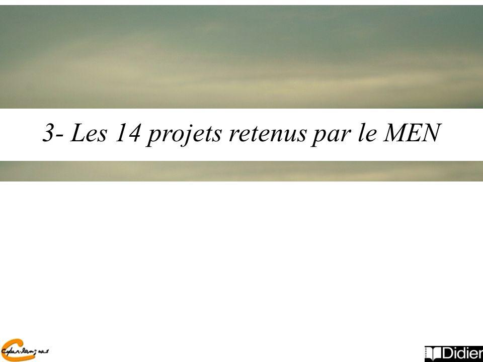 3- Les 14 projets retenus par le MEN