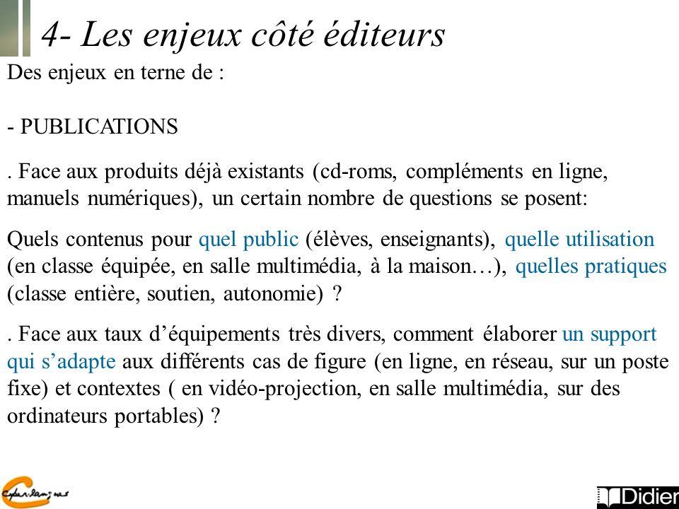 4- Les enjeux côté éditeurs Des enjeux en terne de : - PUBLICATIONS.