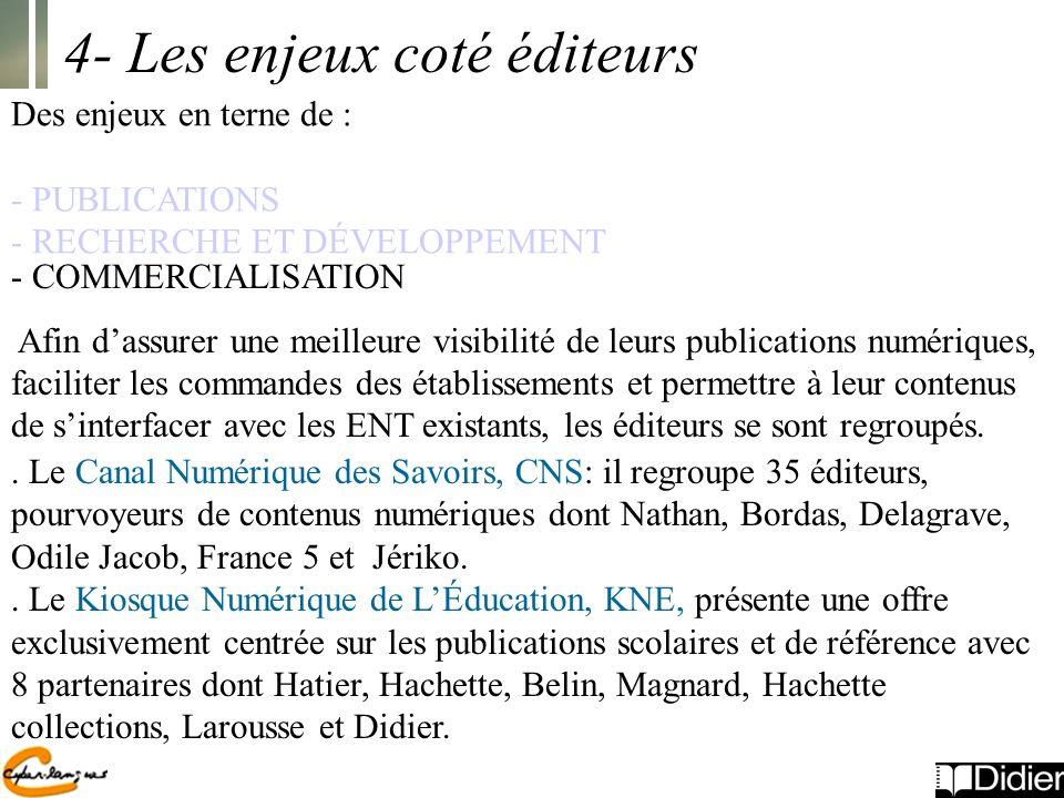 4- Les enjeux coté éditeurs Des enjeux en terne de : - PUBLICATIONS - RECHERCHE ET DÉVELOPPEMENT.