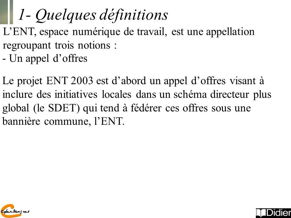 - Un appel doffres Le projet ENT 2003 est dabord un appel doffres visant à inclure des initiatives locales dans un schéma directeur plus global (le SDET) qui tend à fédérer ces offres sous une bannière commune, lENT.