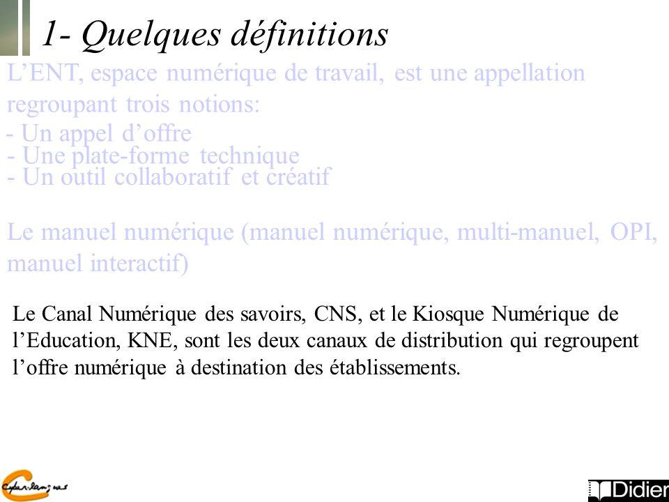 1- Quelques définitions LENT, espace numérique de travail, est une appellation regroupant trois notions: - Un appel doffre - Une plate-forme technique - Un outil collaboratif et créatif Le manuel numérique (manuel numérique, multi-manuel, OPI, manuel interactif) Le Canal Numérique des savoirs, CNS, et le Kiosque Numérique de lEducation, KNE, sont les deux canaux de distribution qui regroupent loffre numérique à destination des établissements.