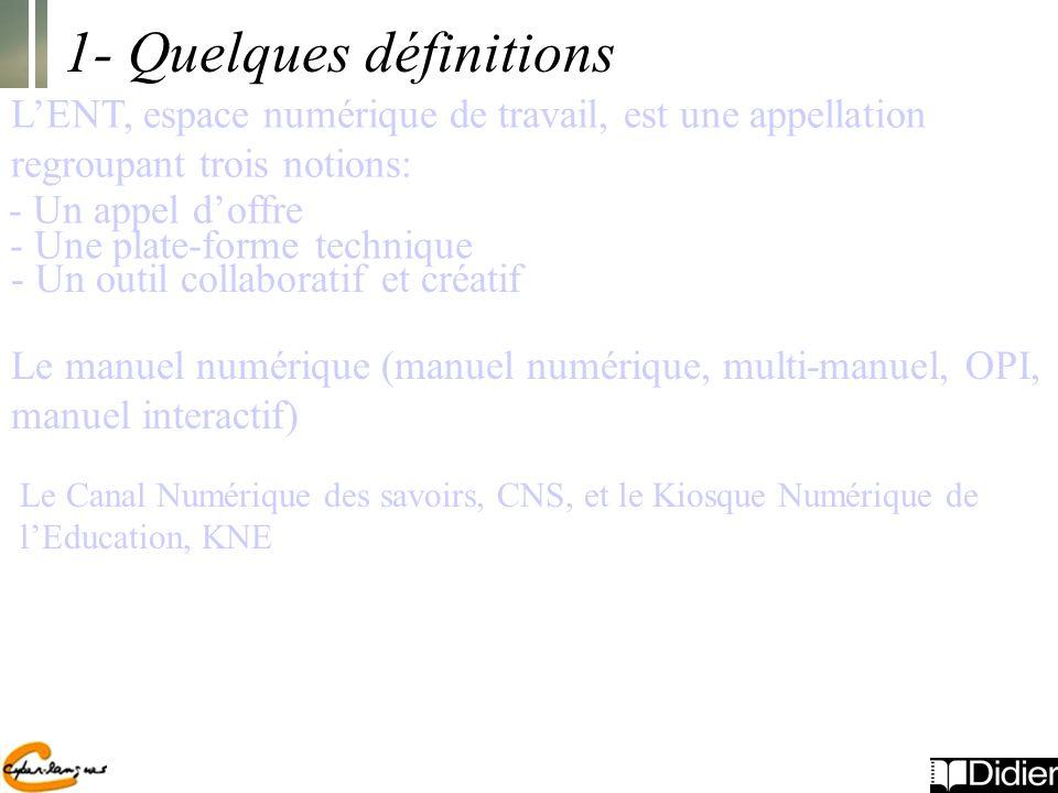 1- Quelques définitions LENT, espace numérique de travail, est une appellation regroupant trois notions: - Un appel doffre - Une plate-forme technique - Un outil collaboratif et créatif Le manuel numérique (manuel numérique, multi-manuel, OPI, manuel interactif) Le Canal Numérique des savoirs, CNS, et le Kiosque Numérique de lEducation, KNE