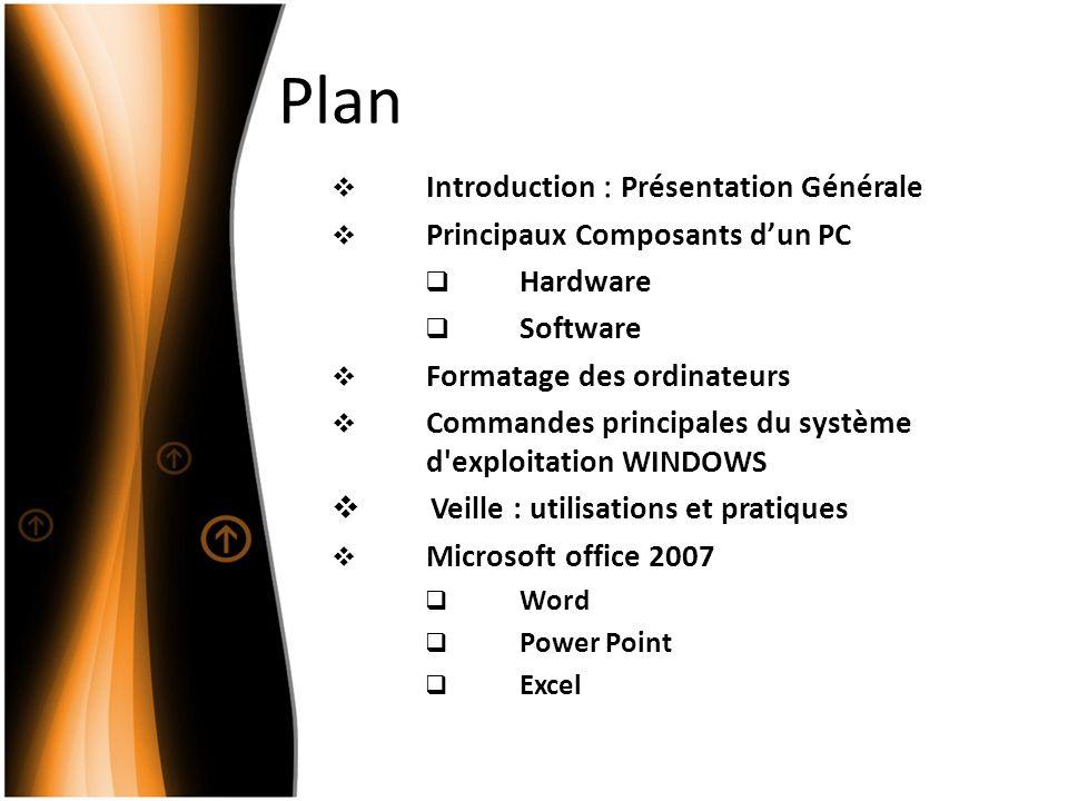 Plan Introduction : Présentation Générale Principaux Composants dun PC Hardware Software Formatage des ordinateurs Commandes principales du système d exploitation WINDOWS Veille : utilisations et pratiques Microsoft office 2007 Word Power Point Excel