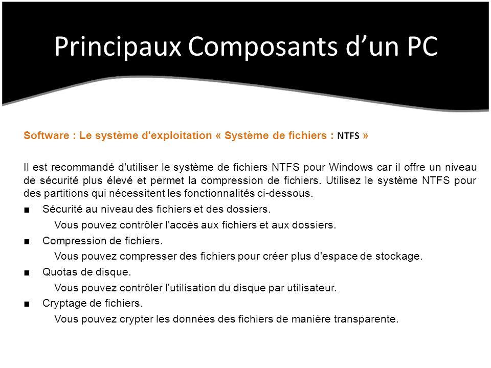 Principaux Composants dun PC Software : Le système d exploitation « Système de fichiers : NTFS » Il est recommandé d utiliser le système de fichiers NTFS pour Windows car il offre un niveau de sécurité plus élevé et permet la compression de fichiers.