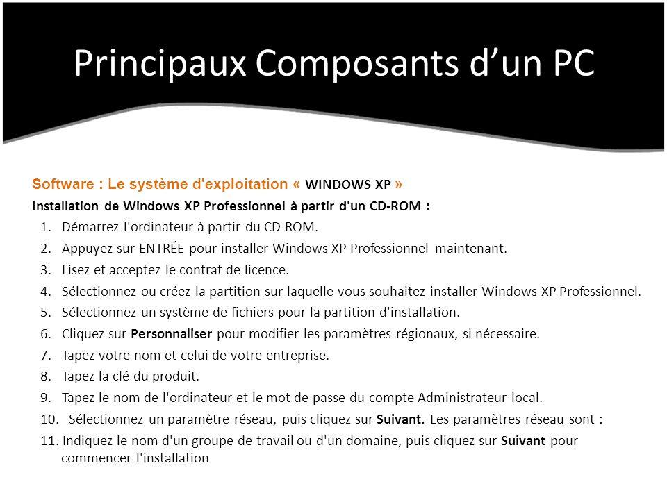 Principaux Composants dun PC Software : Le système d exploitation « WINDOWS XP » Installation de Windows XP Professionnel à partir d un CD-ROM : 1.