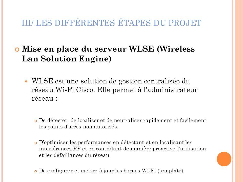 III/ LES DIFFÉRENTES ÉTAPES DU PROJET Mise en place du serveur WLSE (Wireless Lan Solution Engine) WLSE est une solution de gestion centralisée du rés