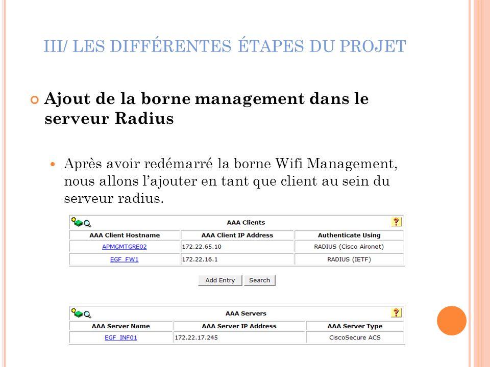 III/ LES DIFFÉRENTES ÉTAPES DU PROJET Ajout de la borne management dans le serveur Radius Après avoir redémarré la borne Wifi Management, nous allons