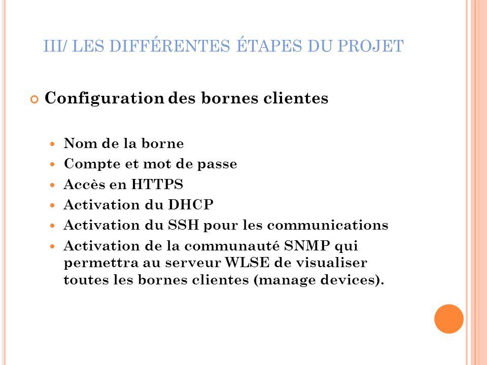 III/ LES DIFFÉRENTES ÉTAPES DU PROJET Configuration des bornes clientes Nom de la borne Compte et mot de passe Accès en HTTPS Activation du DHCP Activ