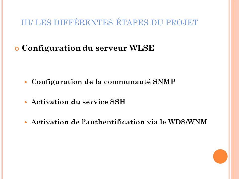 III/ LES DIFFÉRENTES ÉTAPES DU PROJET Configuration du serveur WLSE Configuration de la communauté SNMP Activation du service SSH Activation de lauthe