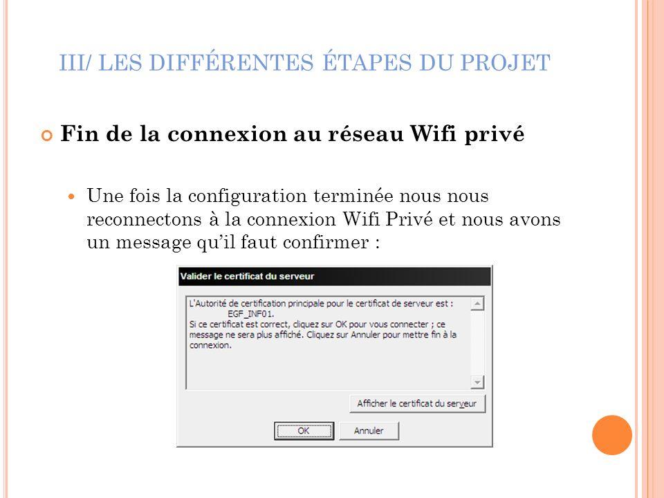 III/ LES DIFFÉRENTES ÉTAPES DU PROJET Fin de la connexion au réseau Wifi privé Une fois la configuration terminée nous nous reconnectons à la connexio