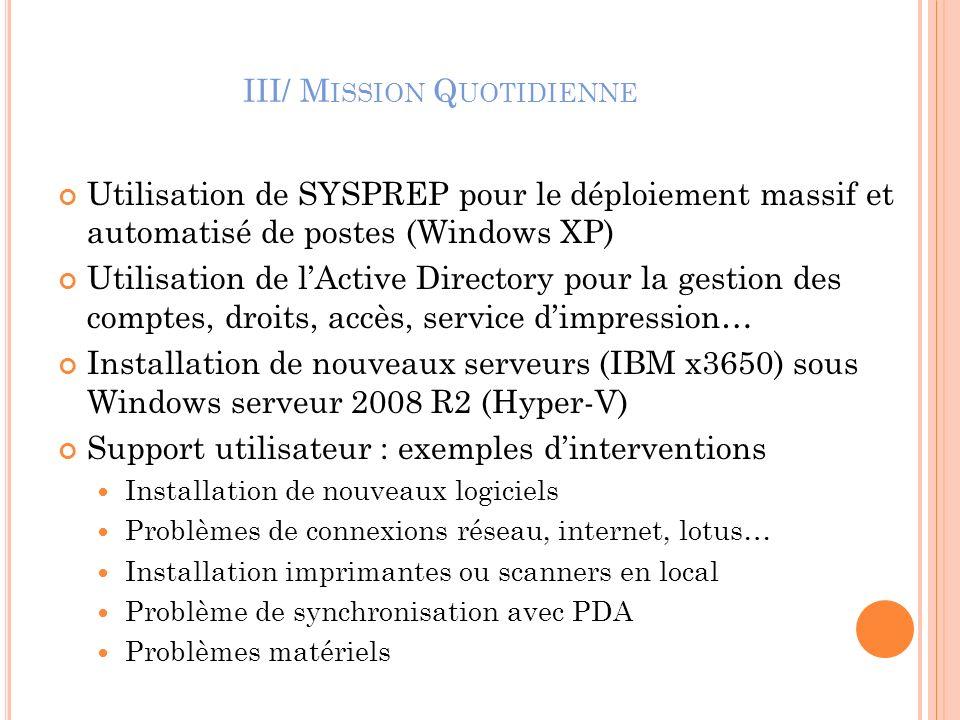 III/ M ISSION Q UOTIDIENNE Utilisation de SYSPREP pour le déploiement massif et automatisé de postes (Windows XP) Utilisation de lActive Directory pou