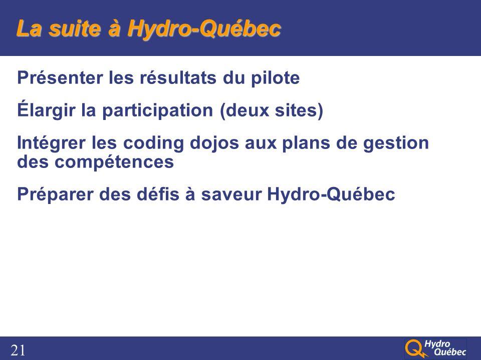 21 La suite à Hydro-Québec Présenter les résultats du pilote Élargir la participation (deux sites) Intégrer les coding dojos aux plans de gestion des compétences Préparer des défis à saveur Hydro-Québec