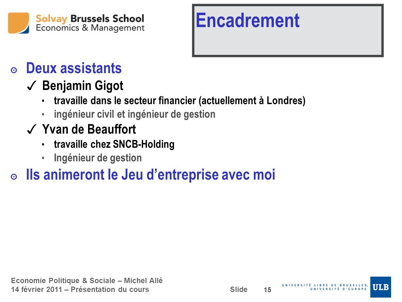 Economie Politique & Sociale – Michel Allé 14 février 2011 – Présentation du cours Slide Encadrement Deux assistants Benjamin Gigot travaille dans le