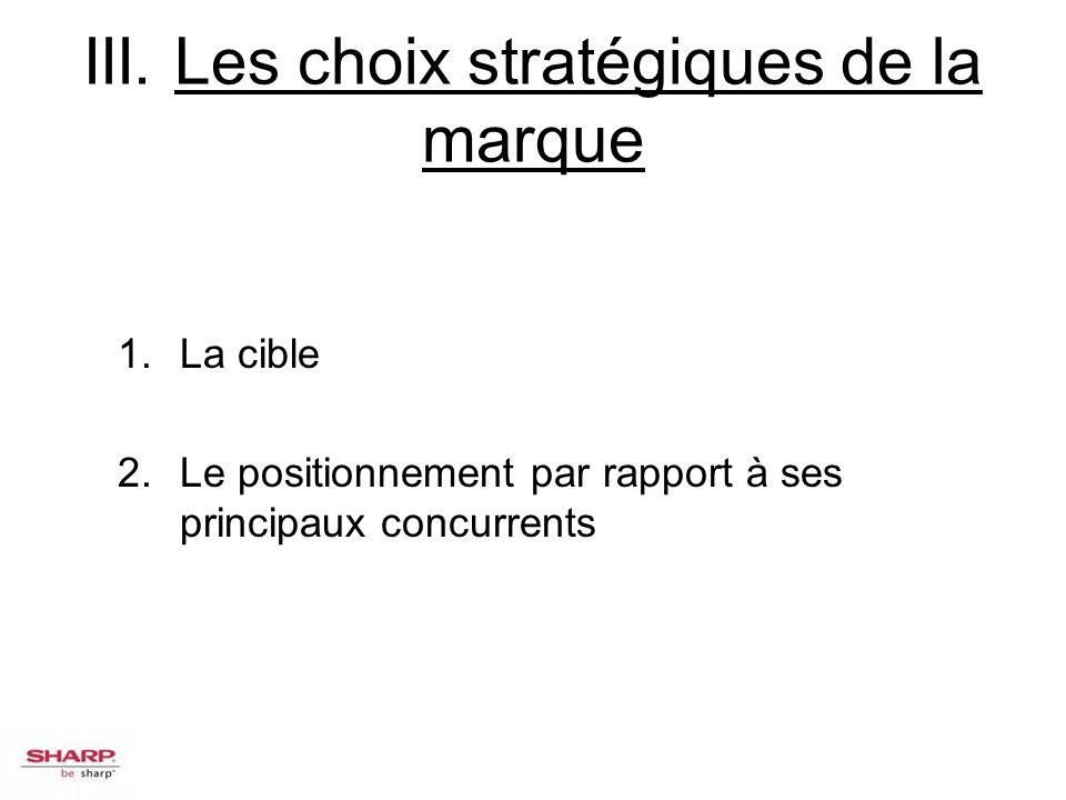 III. Les choix stratégiques de la marque 1.La cible 2.Le positionnement par rapport à ses principaux concurrents