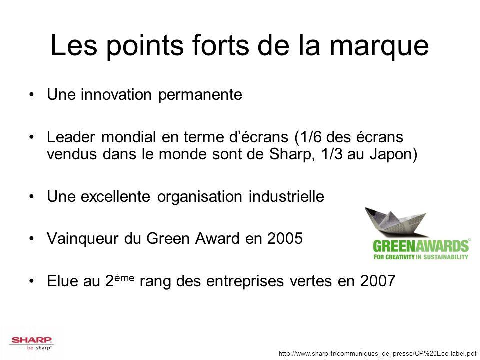 Les points forts de la marque Une innovation permanente Leader mondial en terme décrans (1/6 des écrans vendus dans le monde sont de Sharp, 1/3 au Jap