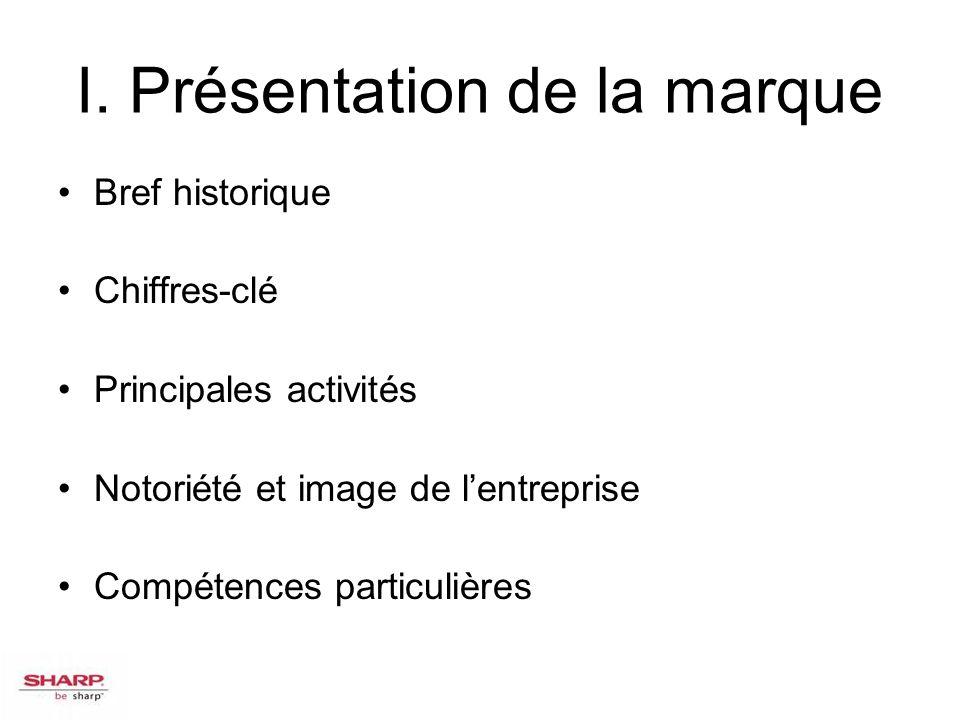 I. Présentation de la marque Bref historique Chiffres-clé Principales activités Notoriété et image de lentreprise Compétences particulières