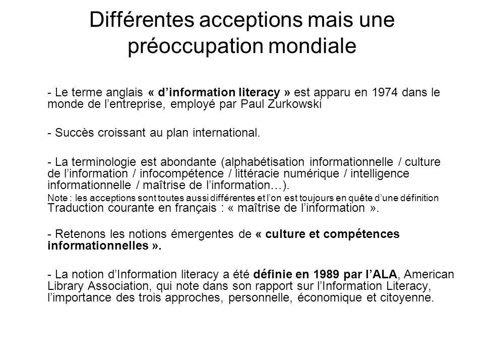 Différentes acceptions mais une préoccupation mondiale - Le terme anglais « dinformation literacy » est apparu en 1974 dans le monde de lentreprise, e
