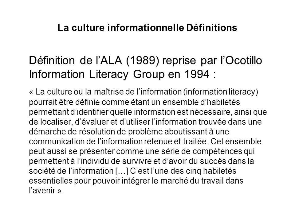 La culture informationnelle Définitions Définition de lALA (1989) reprise par lOcotillo Information Literacy Group en 1994 : « La culture ou la maîtri