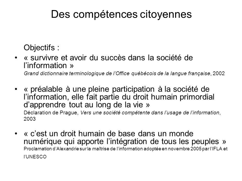 Des compétences citoyennes Objectifs : « survivre et avoir du succès dans la société de linformation » Grand dictionnaire terminologique de lOffice qu