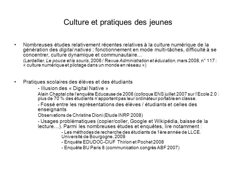 Culture et pratiques des jeunes Nombreuses études relativement récentes relatives à la culture numérique de la génération des digital natives : foncti