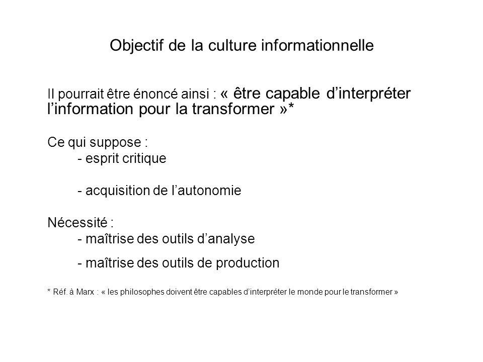 Objectif de la culture informationnelle Il pourrait être énoncé ainsi : « être capable dinterpréter linformation pour la transformer »* Ce qui suppose