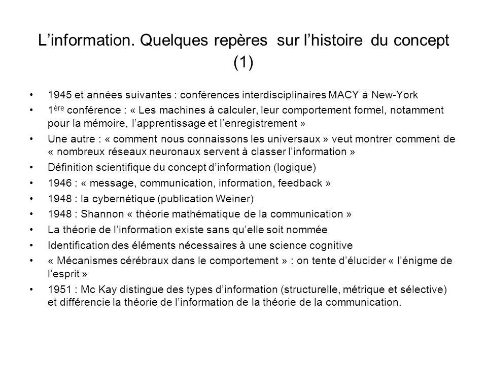 Linformation. Quelques repères sur lhistoire du concept (1) 1945 et années suivantes : conférences interdisciplinaires MACY à New-York 1 ère conférenc