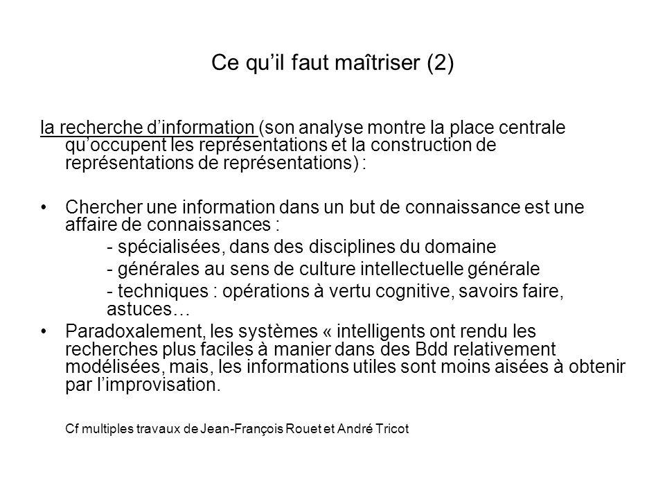 Ce quil faut maîtriser (2) la recherche dinformation (son analyse montre la place centrale quoccupent les représentations et la construction de représ