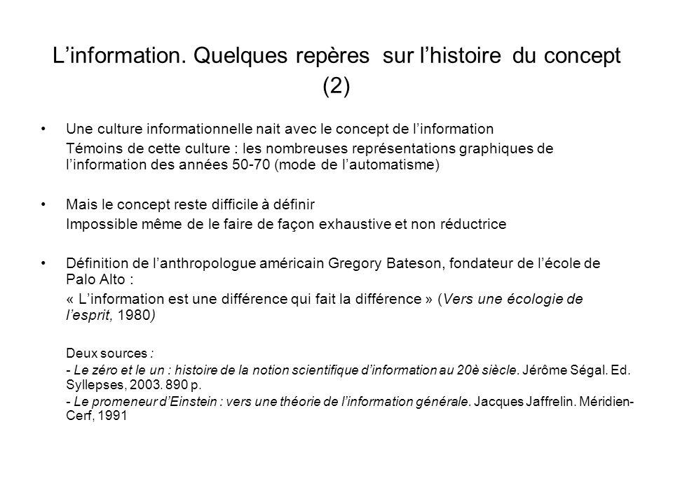 Linformation. Quelques repères sur lhistoire du concept (2) Une culture informationnelle nait avec le concept de linformation Témoins de cette culture