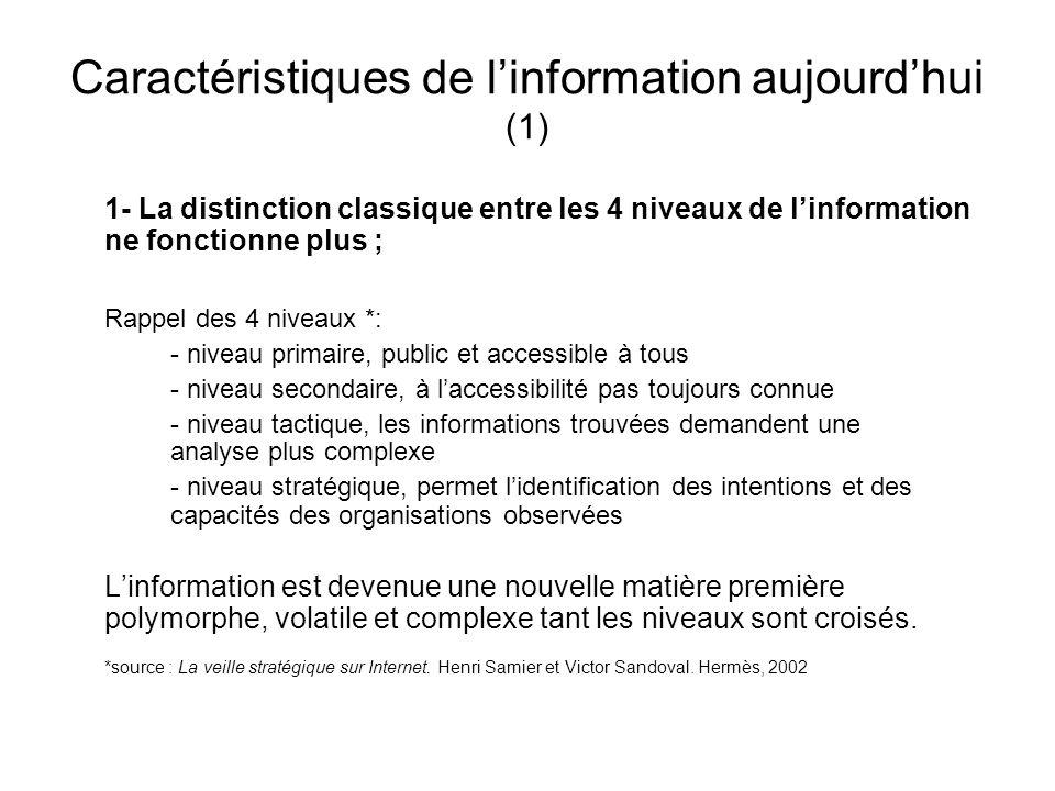 Caractéristiques de linformation aujourdhui (1) 1- La distinction classique entre les 4 niveaux de linformation ne fonctionne plus ; Rappel des 4 nive