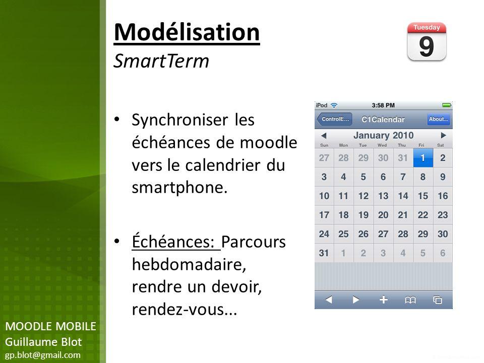 Modélisation SmartTerm Synchroniser les échéances de moodle vers le calendrier du smartphone. Échéances: Parcours hebdomadaire, rendre un devoir, rend