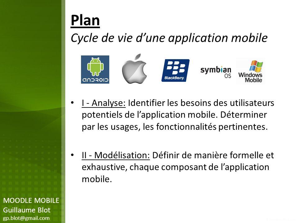 Plan Cycle de vie dune application mobile I - Analyse: Identifier les besoins des utilisateurs potentiels de lapplication mobile. Déterminer par les u